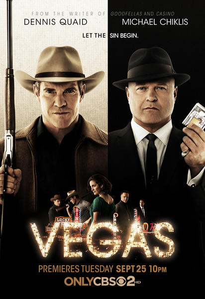 "The drama ""Vegas"" was inspired by the true story of former Vegas Sheriff Ralph Lamb (Dennis Quaid, left), a rancher tasked with bringing order to 1960s Las Vegas as it begins its rise as a gambling and entertainment mecca. Lamb finds himself repeatedly clashing with Vincent Savino (Michael Chiklis, right), a ruthless Chicago gangster who plans to make Vegas his own. ""Vegas"" debuts at 9 p.m. Sept. 25 on CBS.