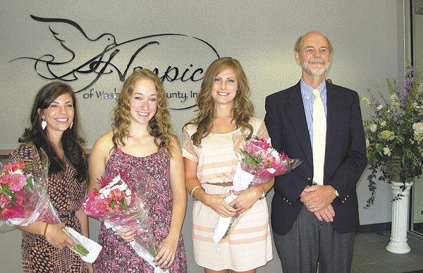 Pictured from left are Katy Yeary, who is attending Kettering College of Medical Arts, Ohio; Sarah Stayer, who is attending St. Mary's College of Maryland; Damara McDonough, who is attending Towson University; and Dr. Frederic H. Kass III.