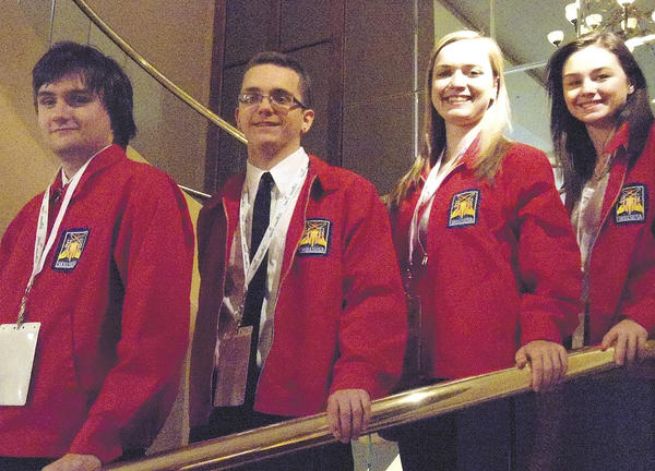 From left, Kaleb Singleton, Christopher Cargill, Breanna Bailey and Alexis Andrukat placed in the National SkillsUSA Championships.