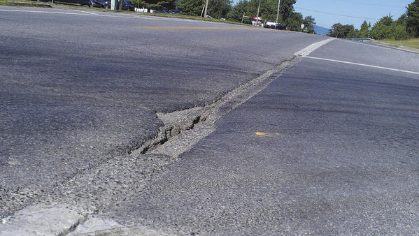 Shown is a crack in the pavement and pothole along Md. 144 at Western Maryland Parkway in Hagerstown.