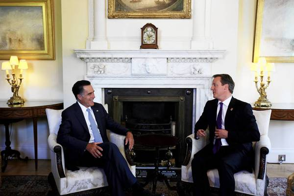 Mitt Romney, left, Republican presidential nominee, meets with British Prime Minister David Cameron in London last week. Romney is also scheduled to visit Israel and Poland on his trip.