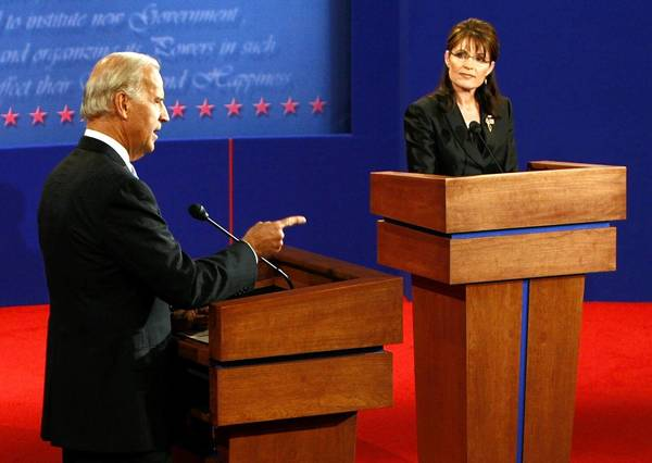 "During a vice presidential debate in 2008, Sen. Joe Biden, D-Del., and Alaska Gov. Sarah Palin squared off with Palin saying: ""I may not answer the questions the way that either the moderator or you want to hear but I'm going to talk straight to the American people and let them know my track record also."""