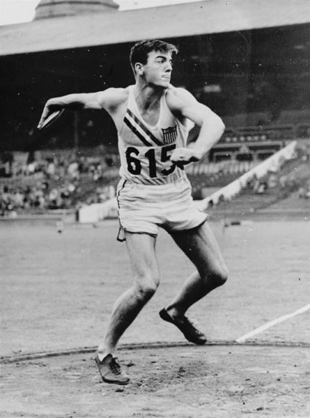 ** FILE ** Bob Mathias, 17, of Tulare, Calif., competes in the discus toss in Wembley Stadium in this Aug. 6, 1948, file photo, to take lead in the Decathlon in the London Summer Olympics. Mathias, a two-time Olympic champion in the decathlon and former U.S. congressman, died Saturday, Sept. 2, 2006. He was 75. The U.S. Olympic Committee said in a statement that Mathias died in his home. A cause of death wasn't released. (AP Photo, file)