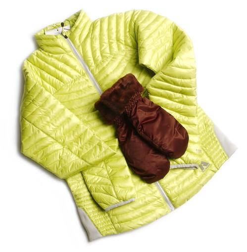 Down shirt + mittens