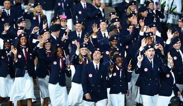 Team USA athletes show off Ralph Lauren-designed uniforms at the opening ceremony for the 2012 Summer Games in London.