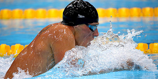 U.S. swimmer Ryan Lochte swims the breast stroke on his way to a gold medal in the Men's 400m Individual Medley.