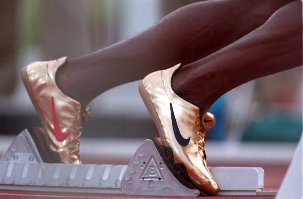 Michael Johnson, the first man to win both the 200-meter and 400-meter events in the same Olympics, debuted these gold shoes at the 1996 Summer Games in Atlanta.