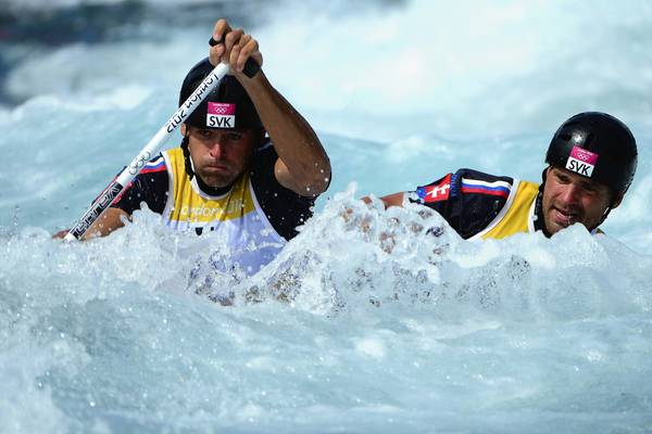 Slovakia's Pavol and Peter Hochschorner compete in the canoe double men's 1st round at the Lee Valley Water Park in London.
