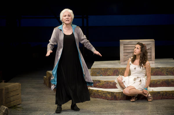 Olympia Dukakis as Prospera and Merritt Janson (Miranda) in 'The Tempest' at Shakespeare & Co.