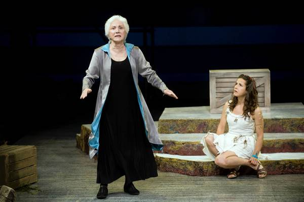 Olympia Dukakis (Prospera) and Merritt Janson (Miranda) in 'The Tempest' at Shakespeare & Co.
