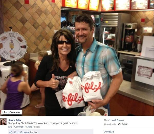 Sarah Palin and her husband Todd swung by a Chick-fil-A on Friday to support the chain.