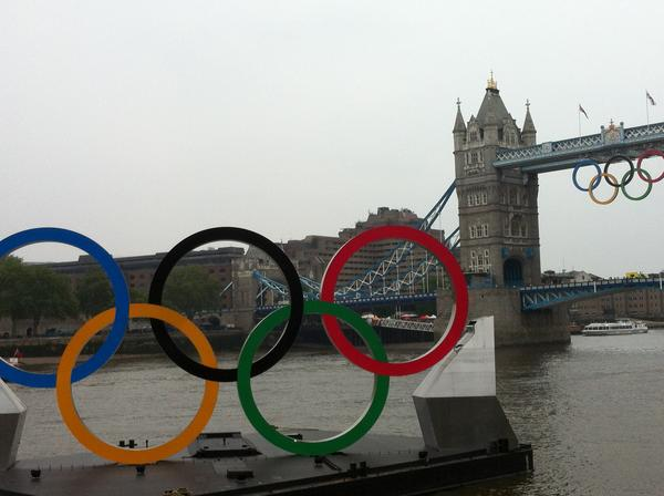 The Olympic rings on the Thames River. (Michelle Golladay)