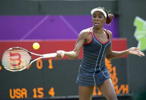 Venus Williams in action in the first round against Sara Errani of Italy.