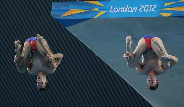 Americans David Boudia, right, and Nick McCrory compete in the men's 10m synchronized diving competition.