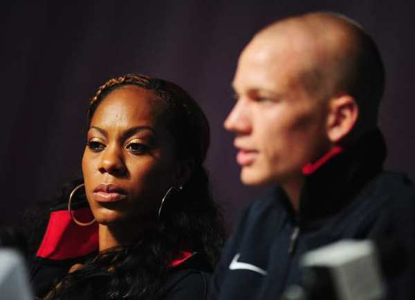 Sanya Rochards-Ross and Jesse Williams at the news conference Monday.