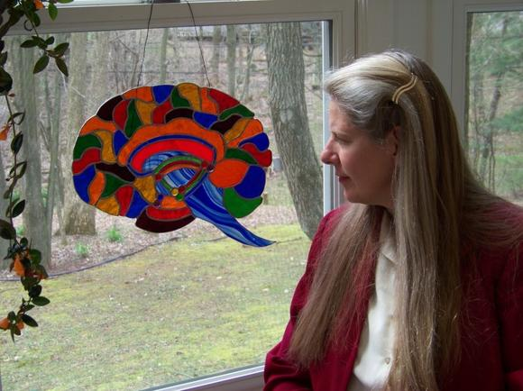 One of Dr. Jill's stained glass brains