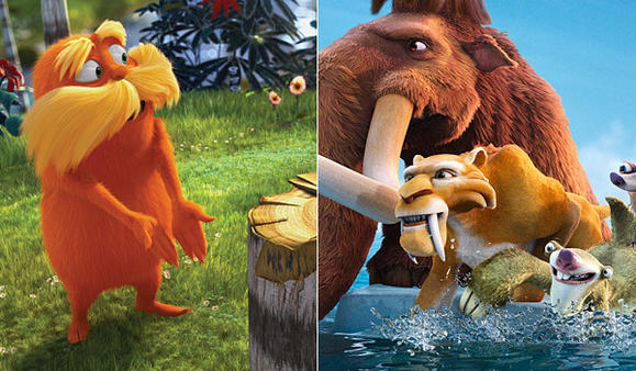 "Scenes from ""The Lorax,"" left, and ""Ice Age: Continental Drift"""