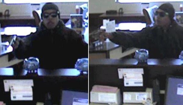 Surveillance photos of a man robbing a Far South Side bank.