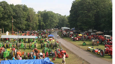 This photo shows lines of tractors from last year's show.