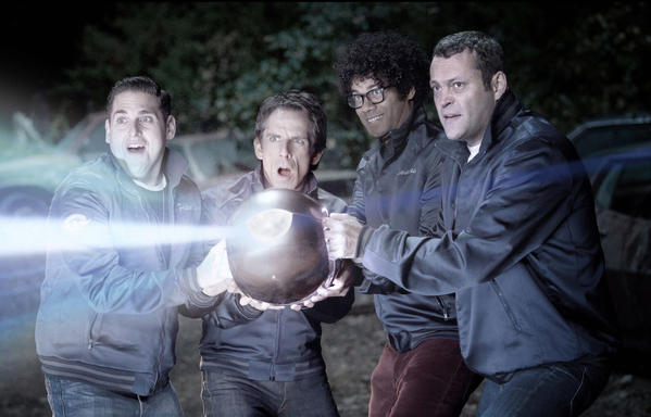 "This film image released by 20th Century Fox shows, from left, Jonah Hill, Ben Stiller, Richard Ayoade and Vince Vaughn in a scene from ""The Watch."""