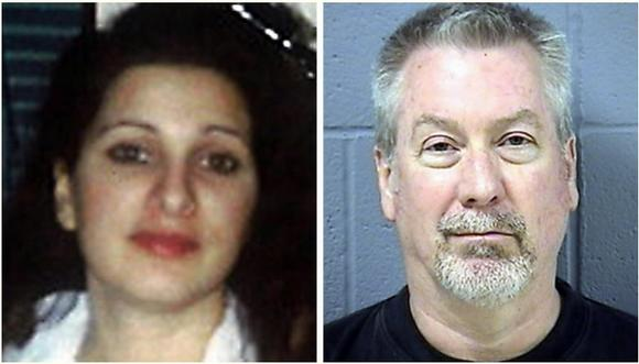 A family photo of Kathleen Savio, and the booking mug of Drew Peterson.