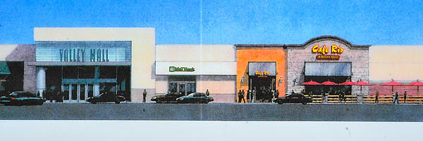 A drawing of the north side of Valley Mall shows the future site of Cafe Rio Mexican Grill.