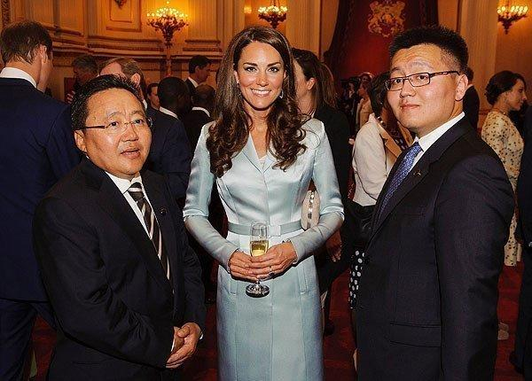 The duchess of Cambridge with the President of Mongolia, Elbegdorj Tsakhia, left, and Erdene Elbegdorj at a reception at Buckingham Palace to welcome heads of state and government before the opening ceremony.