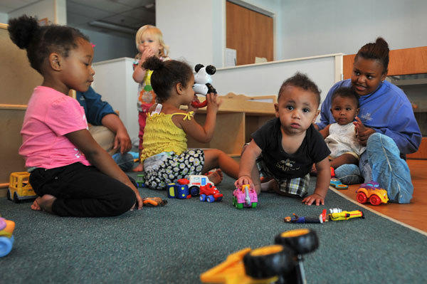 Children can interact with their teachers, volunteers, therapists, parents and one another in therapeutic classrooms at the Early Head Start-SafeStart program in Allentown.