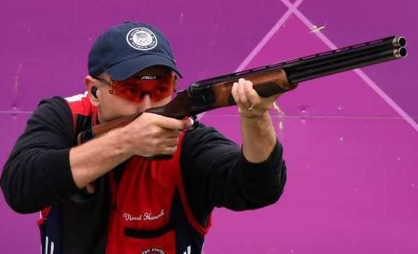 Vincent Hancock competes in skeet shooting on Tuesday.