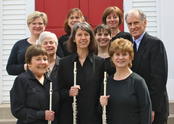 Members of the Northern Michigan Flute Choir include (front row, from left) Ann Bahr, Bonnietta Benn, Grace Olson; (middle row) Cidney Roth, Gwen Sarya, Ed Bahr; (third row) Suzanne Parker, Wendy Patton-Leino and Debbie McKeon.