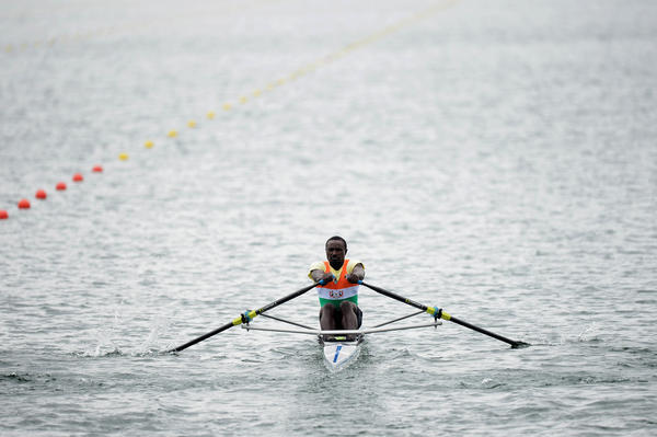 Hamadou Djibo Issaka of Nigeria competes in the men's Single Sculls on Day 4 of the London 2012 Olympic Games at Eton Dorney in Windsor, England.