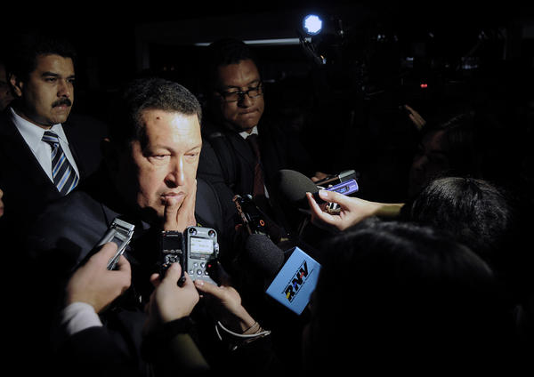 Venezuelan President Hugo Chavez speaks with the press after a dinner with Brazilian President Dilma Rousseff, at Alvorada Palace in Brasilia. Chavez is in Brazil to take part in the Mercosur Extraordinary Summit that will be held in Brasilia. This summit will make official Venezuela's Membership to the Mercosur regional trading bloc.