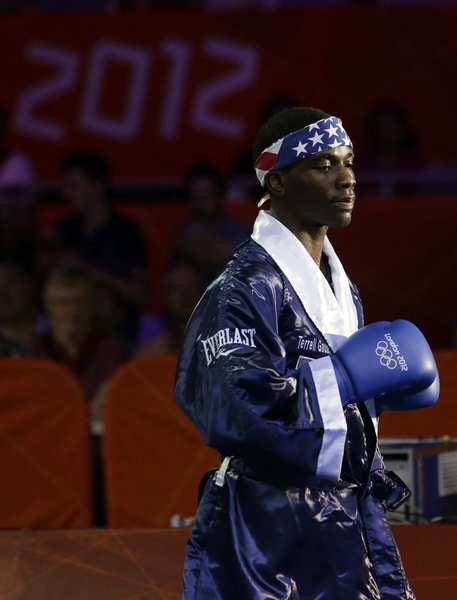 Team USA's Terrell Gausha enters the arena before a middleweight match against Armenia's Andranik Hakobyan. Gausha won the match.