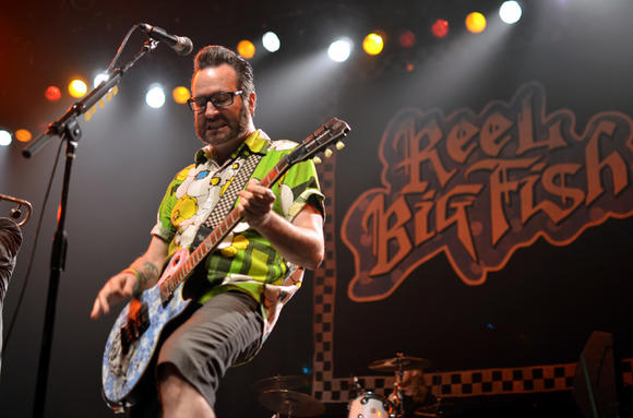Aaron Barrett of Reel Big Fish performs at the City National Grove of Anaheim on July 28.