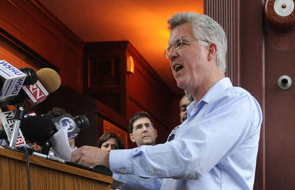 House Speaker Chris Donovan claims no knowledge of his former campaign finance director's alleged misconduct at a press conference at his campaign headquarters in Meriden on June 3.