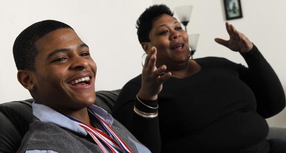 Semajay Thomas and his mother, Carla.