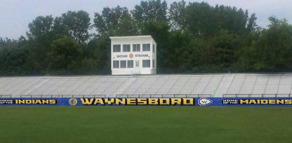 Shown is a rendering of how new banners in the Waynesboro (Pa.) Area Senior High School football stadium could appear.