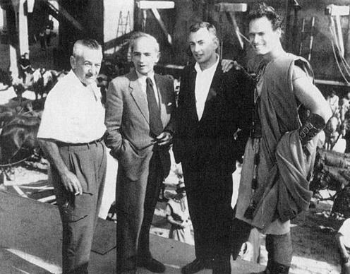 "On the set of ""Ben Hur"" in Rome are, from left, director William Wyler, co-writer Christopher Fry, Gore Vidal and Charlton Heston. This 1959 photo is from Vidal's book ""Palimpsest: A Memoir."""