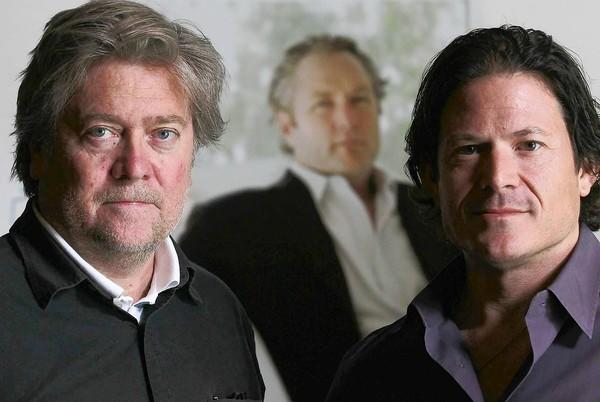 Steve Bannon, left, and Larry Solov aim to see the late Andrew Breitbart's online vision hit new heights.