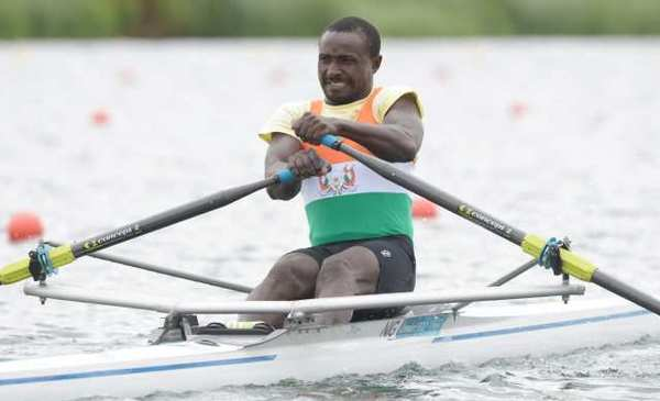 Niger's Hamadou Djibo Issaka during the rowing competition on Tuesday.