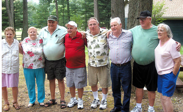 Some of those attending the Mills reunion are, from left, Peggy Ressler of Waynesboro, Pa., Hilda Crilly and Floyd Mills, both of Hagerstown, William Mills of Williamsport, Lloyd Mills of Hagerstown, Elmer Mills of Glenville, W.Va., Eddie Mills of Chambersburg, Pa., and Edith Beeler of Hagerstown.