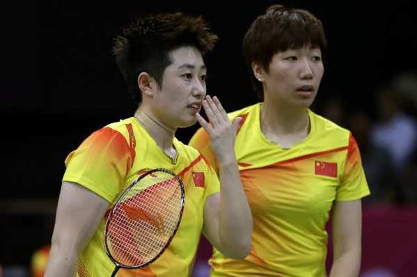 China's Yu Yang, left, and Wang Xiaoli in a women's doubles badminton match.