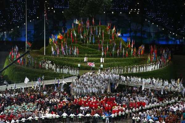 A scene from the opening ceremony in London.