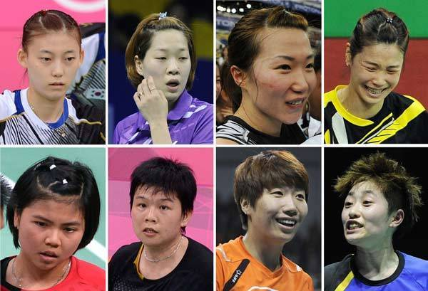 A combination of pictures on August 1, 2012, shows eight badminton players that were disqualified Wednesday in a match-fixing scandal at the Olympic badminton tournament in London.