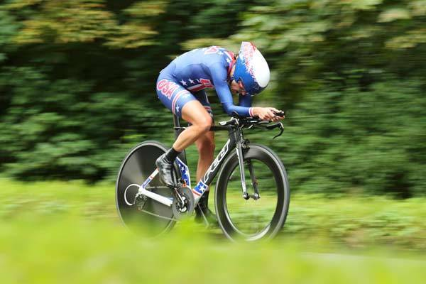 Kristin Armstrong of the United States competes during the Women's Individual Time Trial on day 5 of the London 2012 Olympic Games.