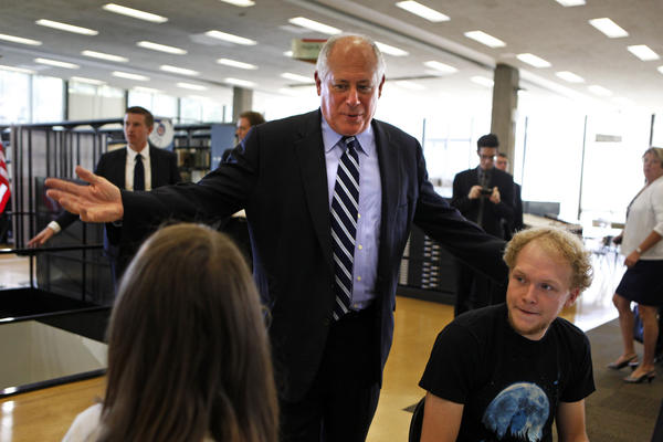 Illinois Gov. Pat Quinn says hello to students at the Paul V. Galvin Library, located on the campus of IIT (Illinois Institute of Technology), in Chicago before he signs House Bill 3782 into law. According to the press release from the Governor's office, the new law protects current and prospective employees' right to privacy in the fast-growing world of social media, according to the press release. House Bill 3782 makes it illegal for an employer to request an employee's or job candidate's social network account information, such as username or password, in order to gain access to their account or profile. Illinois is the second state to enact such a law.