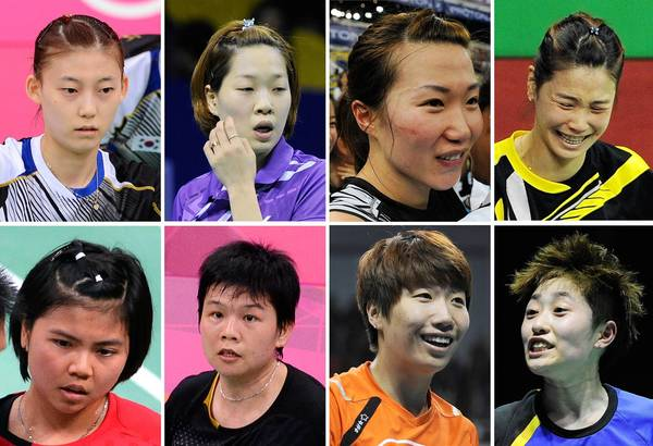 A combination of pictures shows eight badminton players who were disqualified in a match-fixing scandal at the Olympic badminton tournament in London. (Top Row L-R) South Korea's Kim Ha Na, Ha Jung-Eun, Kim Min-Jung, Jung Kyung-Eun. (Bottom Row L-R) Indonesia's Greysia Polii, Meiliana Jauhari and China's Wang Xiaoli and Yu Yang.