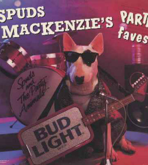 Four-legged and Famous: Hollywood's Celebrity Animals: Spuds Mackenzie first made his appearance in a Bud Light Super Bowl commercial in 1987. The dog played a male but was actually a female Bull Terrier named Honey Tree Evil Eye. References to Spud can be found in a Kanye West song, Futurama, Parks and Recreation, and Golden Girls. Spuds passed on in 1993 as the old dog age of 10.