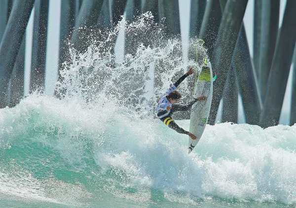 Migel Pupo, from Brazil, launches an air during the US Open of Surfing on Tuesday.