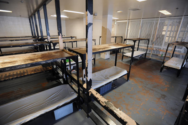 Pictured is the sleeping area in one of the communal cells of the annex building at city jail where juveniles charged as adults are held.